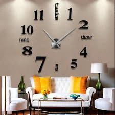 modern diy large wall clock 3d mirror surface sticker home decor