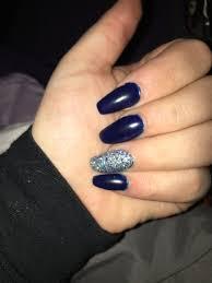 navy blue silver and acrylic nails nails pinterest