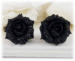 black roses black glitter stud earrings clip ons