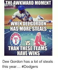 Dee Gordon Meme - theawkward moment when deegordon has more steals vs than these teams
