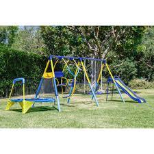 Backyard Swing Sets For Kids by Kids Playground Set Outdoor Swing Slide W Trampoline Backyard
