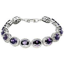 white topaz bracelet images Oval ladies tennis bracelet garnet white topaz jpg