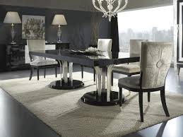 Grey Velvet Dining Chairs Crystal White Chandelier White Fur Rug Black Wall Painting Grey