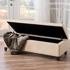 munford beige tufted fabric storage ottoman bench walmart com