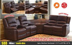 s88 wine leather aire reclining sectional sofa set center console usb