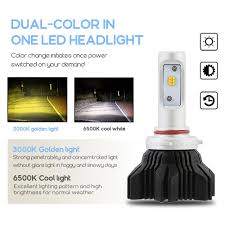 novsight led headlight light bulbs dual color white yellow 40w
