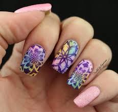 watercolor kaleidoscope stamped nail art design for naillinkup