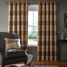 Burnt Orange Curtains Catherine Lansfield Home Brushed Heritage Check Woven Eyelet Lined