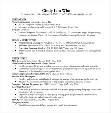 computer science resume template sle computer science resume 11 free documents in