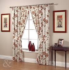 floral jacobean red u0026 cream curtains 90x72 pencil pleat laura