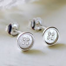 button earrings tiny silver button stud earrings by highland angel