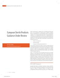 european sterile products guidance under review pdf download