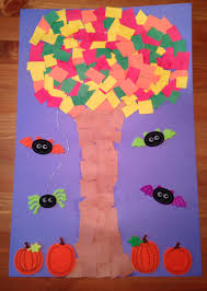 fall halloween tree craft my daughter cut scrap paper and then
