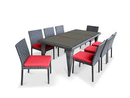9 piece wicker outdoor patio dining set gray wicker coral red