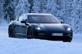 ugly porsche porsche mission e undergoes winter testing evo
