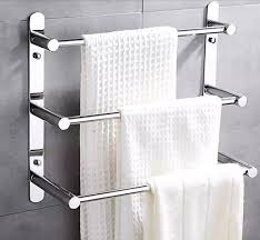 Wall Mounted Bathroom Shelves Modern 304 Stainless Steel Towel Bar Towel Rack 3 Layers Bathroom