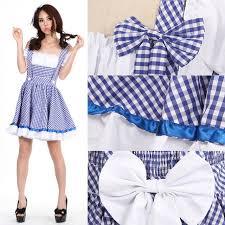 Womens Dorothy Halloween Costume Ladies Dorothy Fancy Dresses Girls Blue Plaid Wizard Oz Cosplay