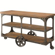 industrial iron wood kitchen trolley natural black buy kitchen coaster 701129 rustic industrial roller cart sofa table