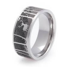 manly wedding bands men s laser carved titanium deer ring ring weddings and