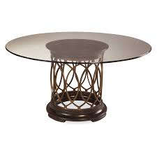 Metal And Wood Furniture A R T Furniture Intrigue Glass Top Round Dining Table Dark Wood
