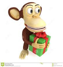 monkey ribbon 3d monkey with gift stock illustration image 59040486