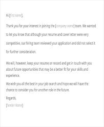 rejection letter after interview sample rejection letter after