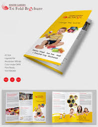 tri fold brochure ai template adorable kindergarten school a3 trifold brochure free