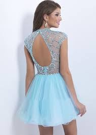 crystal beaded cap sleeves open back blue layered party dress