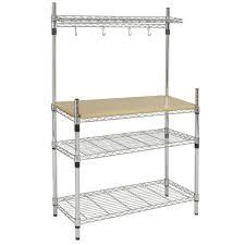 Kitchen Table Bakers Bcp Kitchen Storage Bakers Rack Chrome U0026 Wood W Top Shelf Pan