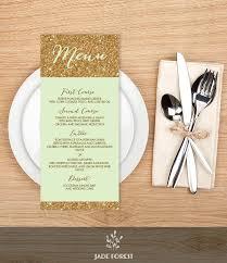 Diy Wedding Menu Cards Gold Sparkle Wedding Menu Card Metallic Gold Glitter On Green
