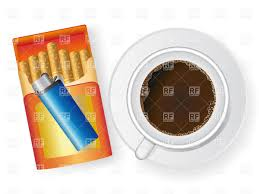 Top Of Coffee Cup Coffee Cup Open Pack Of Cigarette And Lighter Top View Vector
