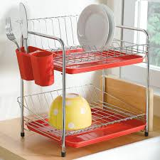 compact space saving 2 tier dish drying rack decor