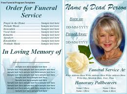 template for funeral service funeral program template sle with detailed order of service