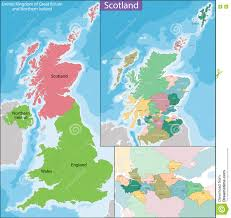 Great Britain On World Map by Map Of Scotland Stock Vector Image 74694305