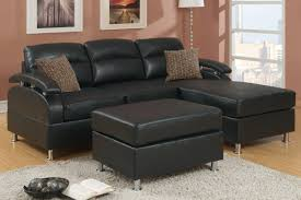 furniture small black leather sectional couch with chaise and