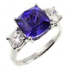 tanzanite stones rings images Platinum 4 66ct cushion cut tanzanite diamond 3 stone ring jpg