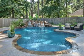 Lagoon Style Pool Designs by Peaceful Freeform Pool And Waterfall With Tanning Ledge By