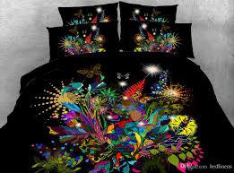 King Size Duvet Cover Set Black Flower Garden 3d Printed Bedding Sets Twin Full Queen King