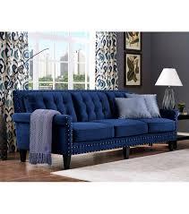 Blue Velvet Sectional Sofa by Blue Velvet Tufted Sofa Nail Head Accents Velvet Tufted Sofa