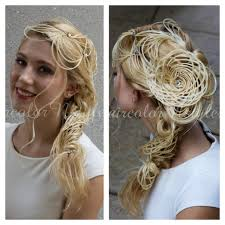 beautiful unusual long hairstyle updo with braid and basket waive