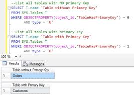 sql server create table primary key how to get all the tables with or without primary key constraint in