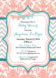 turquoise and coral baby shower ides damask coral and teal baby