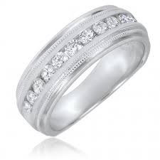 mens 14k white gold wedding bands t w cut diamond men s wedding band 14k white gold my trio