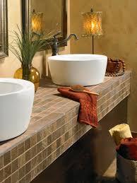 Bathroom Tile Decor Bahtroom Fresh Flower Decor Beside Round Sink Under Tiny Crane On