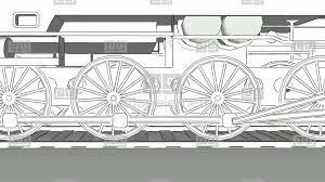 old steam engine train close up outline sketch animation stock