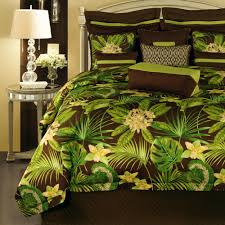 Rose Tree Symphony Comforter Set Bedroom Attractive Floral Pattern Green And Black Rose Tree Bedding