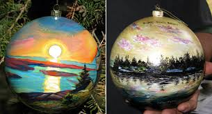 acadia np and croix island ihs ornaments displayed on