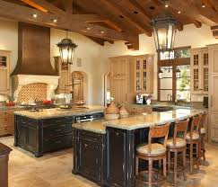 two island kitchen island design lanterns wood ceiling and beams
