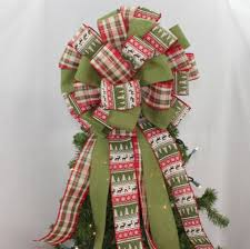 tree sweater rustic sweater plaid tree topper bow 14 wide