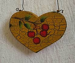 primitive heart tree cherry christmas tree ornament folk art painting